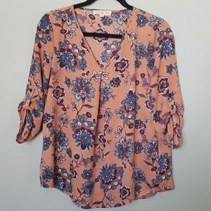 Pink Rose floral top size small